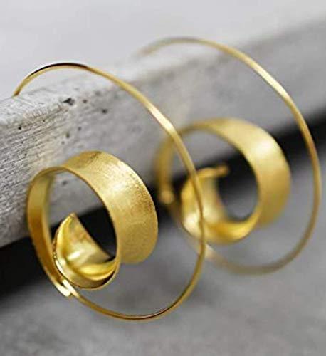 Spiral Ohrringe Vergoldet Hängend - 925 Sterling Silber - Boho Spirale Ohrstecker