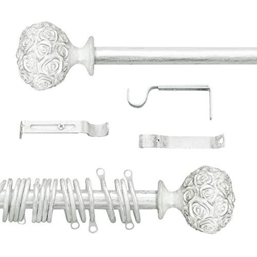 AT17 Gardinenstange Vorhangstange Gardinenstange Variable Länge Landhaus Shabby Chic - Rosen Prägemuster - 160-300 - Durchmesser 2 cm - Weiß/Silber - Metall