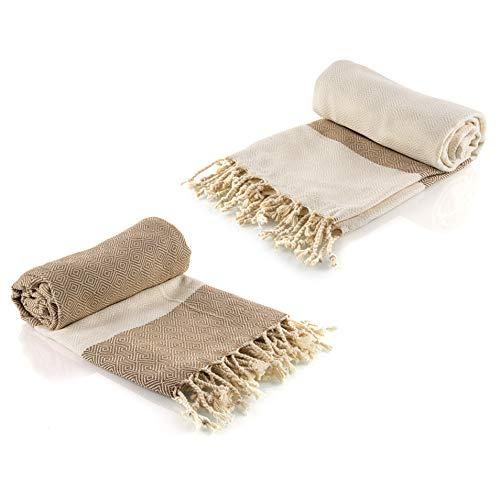 Juego de 2 toallas de hammam turcas Pestemal 100% algodón de secado rápido, para el Baño, el Gimnasio y la Playa, 100cm*200cm, 435 gr. Compacta fouta para viajar, Spa, Picnic, Manta (Beige/Crema)