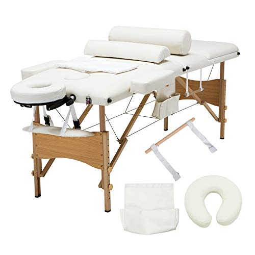 Uenjoy Folding Massage Table 84'' Professional Massage Bed Luxury-Model With Additional Accessories 3 Fold, White