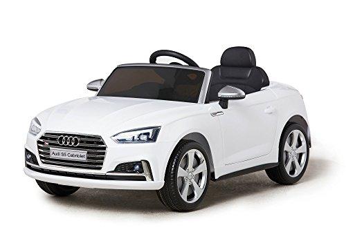 Mondial Toys Auto ELETTRICA per Bambini 12V Audi S5 CABRIOLET Ruote in Gomma Sedile in Pelle Cintura di Sicurezza A 5 Punti Telecomando Bianca 2018