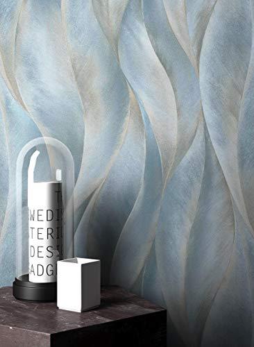 NEWROOM Tapete Blau Vliestapete Leicht Glänzend - Dschungeltapete Floral Blätter Wellen Mustertapete Tropisch inkl. Tapezier-Ratgeber