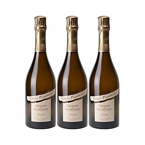 Crémant de Bourgogne Les Reipes Chardonnay Extra Brut Blanc - Louis Picamelot - Vin effervescent AOC Blanc de Bourgogne - Lot de 3x75cl - Cépage Chardonnay