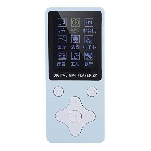 Reproductor de música MP3 / MP4 con Tarjeta de Memoria de 32 GB y Auriculares, Compatible con Tarjeta TF/USB/música/Radio/grabación/Video/Libros electrónicos (Blue)