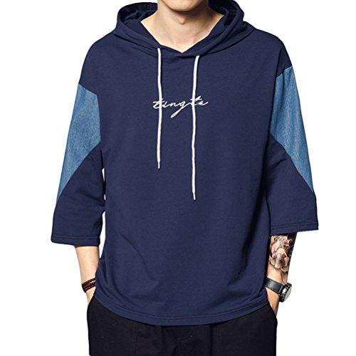 メンズ Tシャツ パーカー 春夏着服 大きいサイズ 面白い 快適 半袖 トップス オシャレ シンプル カジュアル きれいめ blue 2XL
