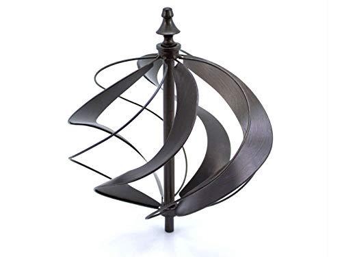 HAFIX Windrad Metall Windspiel Metallwindrad Doppelwindrad Gartendeko rund Wind Mühle mit Erdspieß - 4