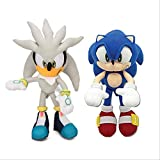 Enjoyyouselves 2pcs 32cm Sonic Toys Silver Blue Sonic Plush Set Sonic The Hedgehog Plush Toy Sonic Tails Knuckles Dolls Silver and Blue