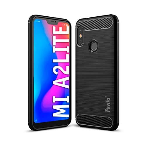 Funda Protectora para Xiaomi Mi A2 Lite/Redmi 6 Pro - Carcasa de TPU con diseño de Fibra de Carbono y Cubierta de Silicona. Funda de móvil Negra Xiaomi Mi A2 Lite/Redmi 6 Pro