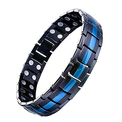 KCRPM Adjustable Men's Strength Therapy Bracelet, Ultra Strength Magnetic Bracelet, Detachable Titanium Steel Bracelet Gift for Men and Women (Black+Blue)