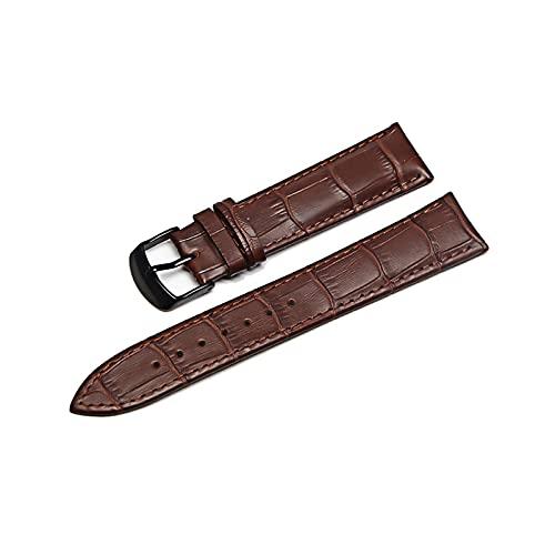 Las correas de cuero correas de reloj 12/18/20/22mm reemplazo de la correa, Negro marrón, 24mm
