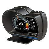 Car HUD Head UP Display Odometer, OBD2 GPS Dual System Speedometer Clear Fault Code Turbine Pressure Oil/Water Temperature Meter, Test Brake Overspeed Alarm, HD LCD Code Meter Display Screen