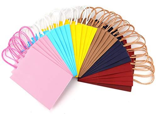 Tebery 30 pz 6 Colori Sacchetti Borse Carta Kraft Colorate con Manici per Regalo Shopping Alimenti Dolci Paper Bags (16 * 7 * 22cm)