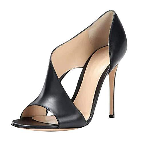 Minetom Mujer Plataforma Alta Tacón Aguja Sandalias Sexy Cuero PU Peep Toe Tacón Alto Fiesta Cóctel Club Zapatos Negro 36 EU