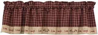 Sturbridge Live Laugh Love Lined Window Valance Café Curtain Wine Red & Tan Plaid Country Primitive Home Décor