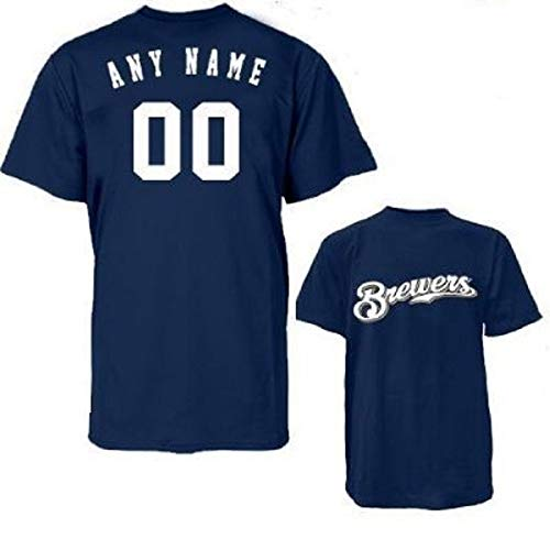 Milwaukee Brewers Personalized Custom (Add Name & Number) Youth Medium Navy Blue