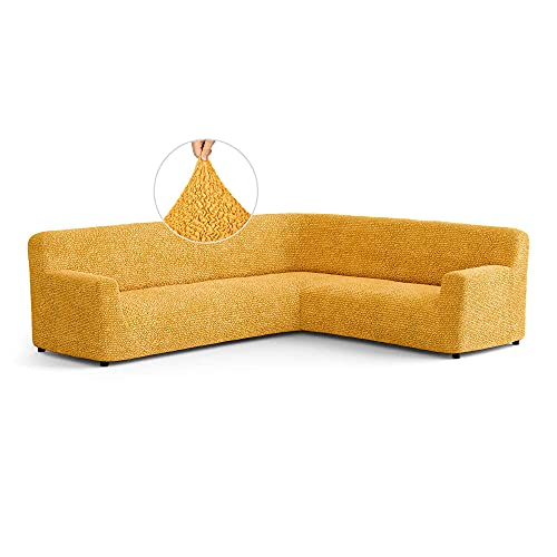 Corner Sofa Cover - Corner Couch Cover - Pet Protector - Soft Polyester Fabric Slipcovers - 1-piece Form Fit Stretch Sectional Sofa Slipcover Furniture Protector - Microfibra - Yellow (Corner)