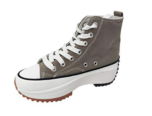 Zapatillas Altas Mujer Hike High Top Maxi Plataforma sin Marca ni Logotipos Suela 5cm, Caqui T.37