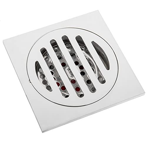 PrimeMatik - Piletta a sifone 10x10cm con valvola da 6 cm e griglia asportabile in Acciaio Inox Lucido