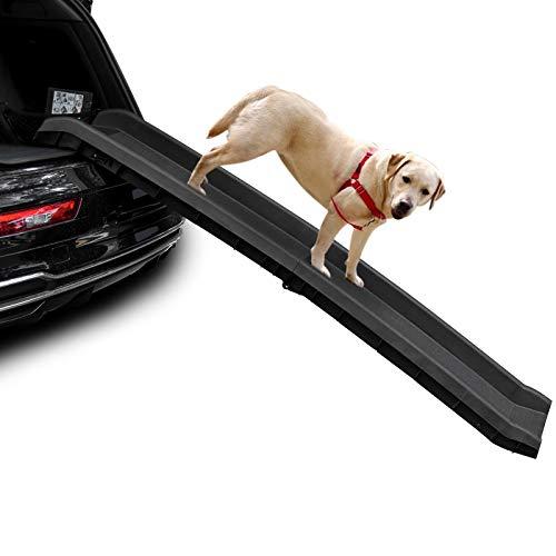 Bellanny Hunderampe Haustierrampe, 156 x 40cm hundetreppe, Hunderampe Auto, Hunderampe Auto Klappbar, Auto Rampe für Kunststoff Hund, Anti-Rutsch Beschichtung, max 90kg -Schwarz