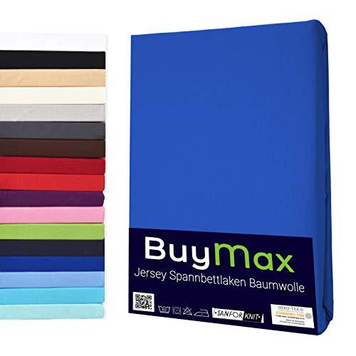 Buymax Spannbettlaken 140x200-160x200 cm Spannbetttuch Bettlaken 100% Baumwolle Jersey Bettbezug für Matratzen bis 25 cm Steghöhe, Blau Dunkelblau