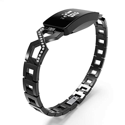 Reety Brazalete para Fitbit Inspire/Fitbit Inspire HR Acero Inoxidable Ajustable Lujoso Diamante X Cadena de Diamantes Cruz Reemplazo Pulseras Joyas para Mujeres y Niñas, Negro