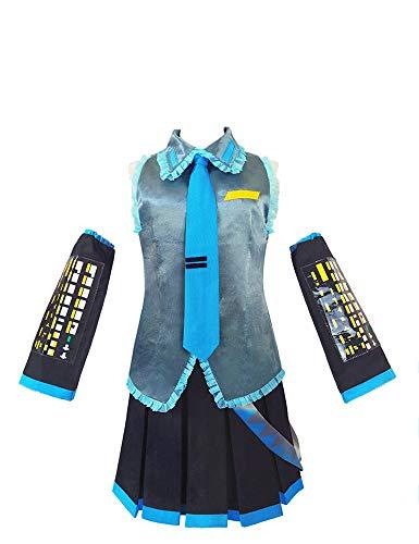 IDEALcos Hatsune Miku Cosplay Kostüm Komplettset mit Socken für Halloween Comic Con (M, Farbe1)