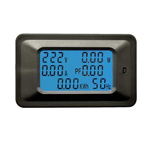 WLALLSS 20A 110-250V Haushaltsenergiezähler Mehrzweck-Digitalanzeige Leistungsfaktor Spannung Strom Leistungsmesser (schwarz)