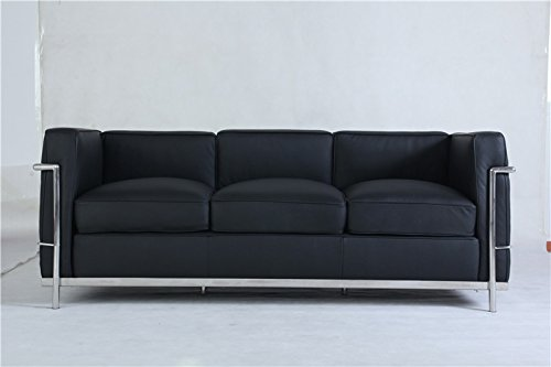 Krafteriors - Corbusier Leather 3 Seater Couch, Couch, Black, Set of 1
