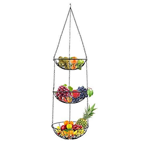 Eillybird Fruitonderstel, 3-laags, multifunctionele keuken, vruchten, hangende mand, metaalvruchten, mand, groenten, mand, voedselopslag, kan 5 kg worden gedragen
