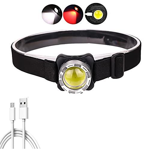 Linterna Frontal Potente faro USB Faro recargable LED COB Luz de cabeza con batería incorporada Lámpara de cabeza a prueba de agua Iluminación roja blanca