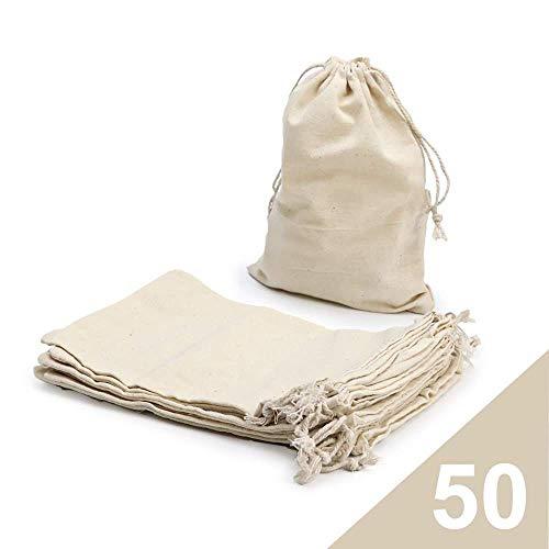 RUBY - 50 Bolsas de algodón con cordón Ajustable, Bolsa de Regalo, Bolsas de Tela Manualidades, Bolsa de Tela para Pintar, Bolsa de cumpleaños (Talla L)