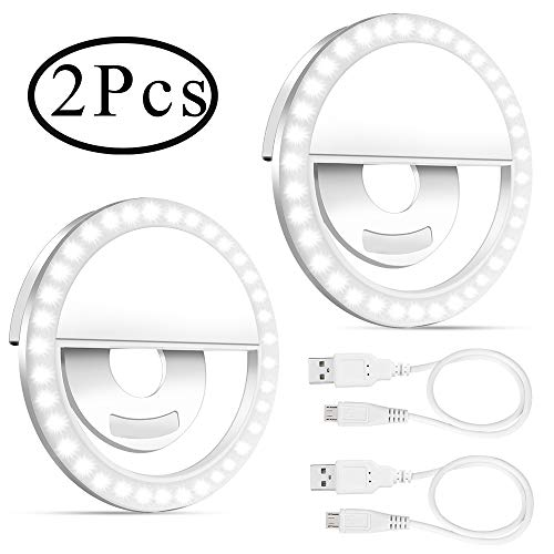 Outee 2 Pack Selfie Ring Light for iPhone, Cell Phone Ring Light Stuff for TIK Tok/Live Stream/Makeup/YouTube Video, Video Light for Potography Makeup Camera Shooting