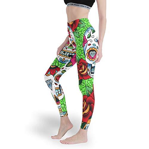 shenminqi Leggings de cintura alta para yoga con diseño de calavera de...