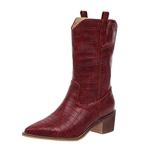 Frauen Stiefel Square Heels Wies Slip-On Casual Bestickte Rodeo Cowboy Stiefel Krokoprägung Martin Stiefel(39 EU,Wein)