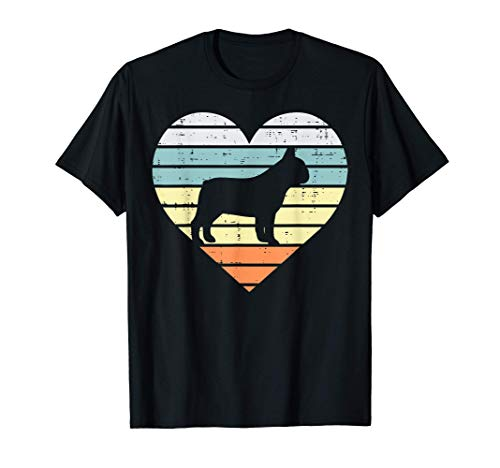 French Bulldog Heart Sunset Retro Frenchie Dog Lover Gift T-Shirt