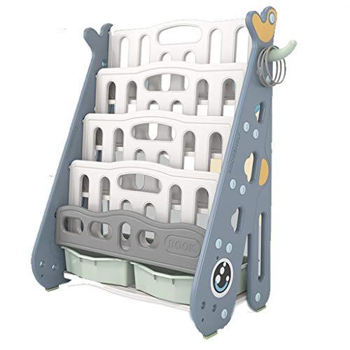 Estantería niños - Biblioteca de plástico de los niños, con estantes de almacenamiento de cinco y dos cajones, for Nursery, Sala de juegos, jardín de infancia, los niños de la decoración del sitio, re