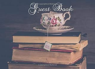 Guest Book: Vintage Style Tea Cup and Books, Paperback Visitors book, Visitor & Customer Comments, Restaurant Tea Room Comments