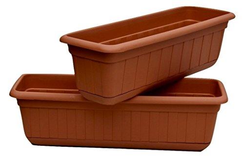 Premium High-Density Plastic Planter & Flower Window Box Gina 18' Set of 2 Units (Terracotta Color)