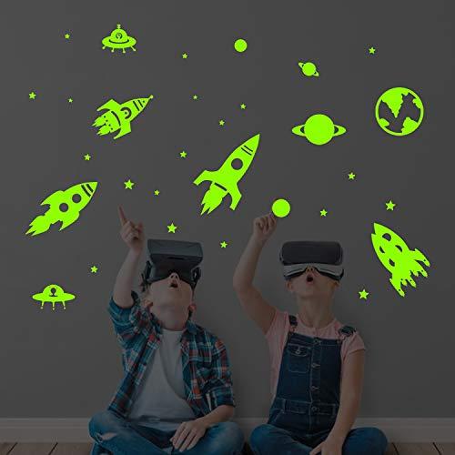 decalmile Wandtattoo Planeten Raketen Fluoreszierend Aufkleber Sterne Leuchten im Dunkeln Wandsticker Kinderzimmer Schlafzimmer Babyzimmer Wanddeko