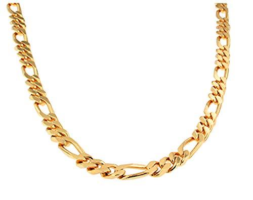 Figarokette 18kt vergoldet 7 mm Länge 42 cm, Halskette Goldkette Herren-Kette Damen Geschenk Schmuck ab Fabrik Italien tendenze FG7-42
