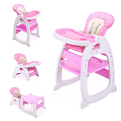 Baby High Chair 3 in 1 Convertible Play Table Seat w/Booster Toddler Feeding Tray&Adjustable Seat Recline(Pink)