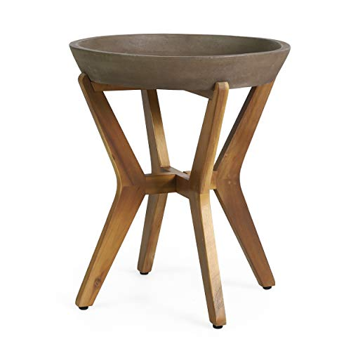 Christopher Knight Home Oprah Outdoor Side Table, Teak and Light Gray