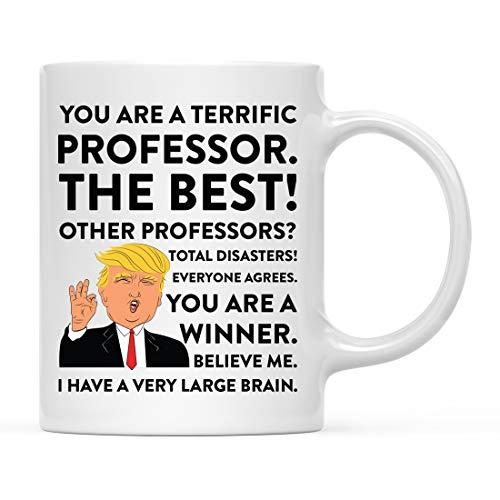 Andaz Press Funny President Donald Trump 11oz. Coffee Mug Gag Gift, Terrific Professor, 1-Pack, Ceramic Christmas Birthday Drinking Cup Republican Democrat Political Satire