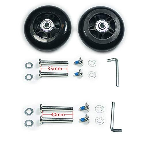 GSHFIGHTING Verschleißfeste Mute Gepäck Koffer Ersatzrollen mit ABEC 608zz Skate Inline Outdoor Skate Reparatur Kits 2 Rollen Sets (schwarz, OD50 mm x B18 mm x ID6 mm Achsen 30/35 mm)