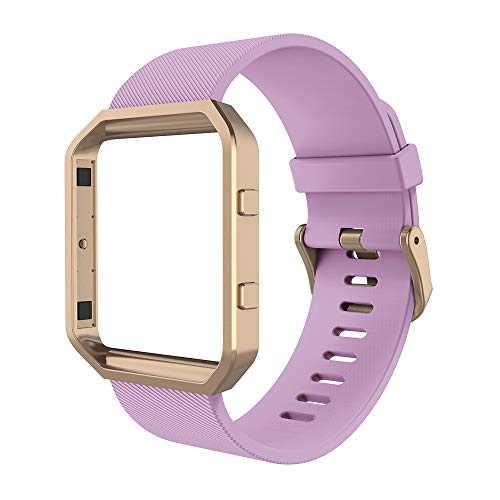 Simpeak Sport Band Compatible with Fitbit Blaze Smartwatch Sport Fitness, Silicone Wrist Band with Meatl Frame Replacement for Fitbit Blaze Men Women, Small, Purple+Rose Gold Frame