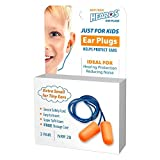 HEAROS Just for Kids Ear Plugs NRR 28 Foam EarPlugs, Extra Small Corded Hearing Protection with Storage Case (3 Pairs)