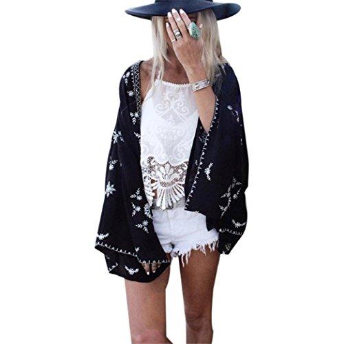 DEELIN Camisa Kimono Estampado Mujer CáRdigan CáRdigan Tops Blusa Chal Protector Solar Cubrir (One-Size, Negro)
