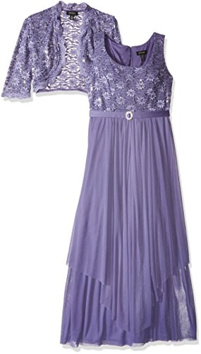 R&M Richards Women's 2 PCE Lace Georgette Jacket Dress, Lavender, 16