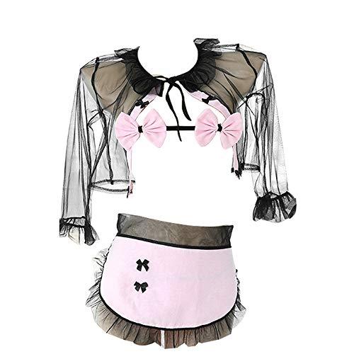 Xinmiao Lencería de sirvienta, disfraces sexys para mujer, lindos trajes de doncella, lencería de cosplay - rosa - Talla Única