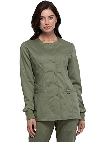 CHEROKEE Workwear WW Revolution Snap Front Jacket, WW310, M, Olive